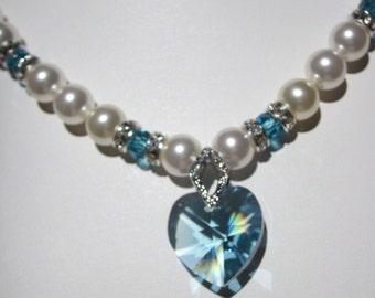 Swarovski Pearl and Aquamarine Crystal Necklace - White Swarovski Pearls and Aquamarine Crystal Heart - Weddings, Brides, Bridesmaids