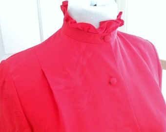 Professional Tailored Ruffle Collar Mandarin Silk Blouse in Red Sz Medium For Wedding Excellent Condition