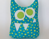 Tooth Fairy Pillow - Personalized Monster - Turquoise and Green Print with optional Green initial applique