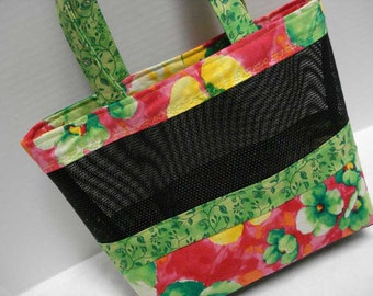 Mesh Tote Bag or Purse with Colorful Floral Print Fabric and Black Pet Screen Mesh