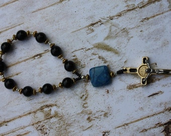 Rosary Chaplet in Black Onyx and  Blue Lapis Our Father Bead St. Benedict Crucifix