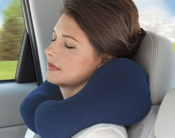 Small Blue Travel Neck Pillow With Strong Side Neck Support, Cervical Pillow, Neck Cushion