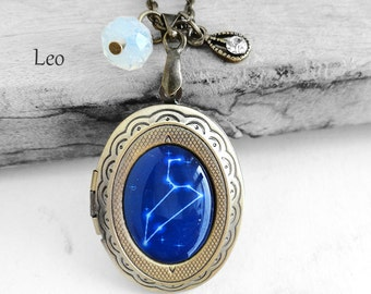 "Get 15% OFF - Handmade Resin ""Leo"" Constellation Sign Antique Bronze Oval Photo Locket Pendant Necklace - Valentine's Day SALE 2017"