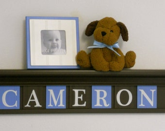 """Blue and Brown Nursery Decor 30"""" Shelf in Brown with 7 Wooden Letters Wall Plaques Personalized for CAMERON"""