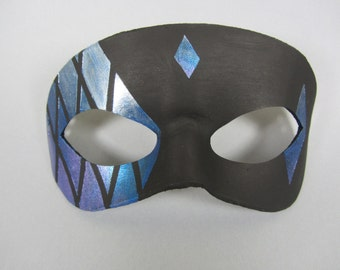 Blue and Purple Stained Glass Tiled Leather Masquerade Mask, Unisex