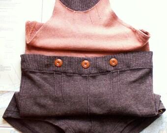 Vintage Bradley Orange and Brown Wool Mens Halter Neck Swimsuit
