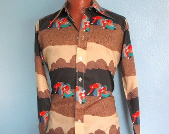 70s Pierre Cardin Men's Cotton Disco Art Print Shirt  Deadstock