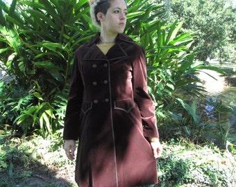 60s Vintage Velvet Coat  Victorian Mod  deadstock unworn