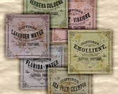 Perfume Labels Cologne Shabby Chic Antique Cosmetic Tags Old Pastel Shampoo Bath Products Florida Water Lavender Water Collage Sheet 454