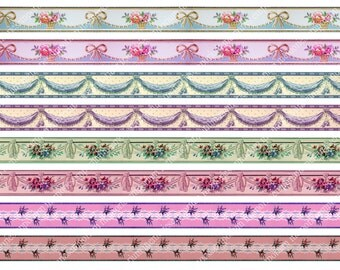 Floral Strips Borders Edging Papers Wallpaper Old Scrapbooking Antique Pastel Decoupage Flowers with Tassels and Bows Collage Sheet wp 443