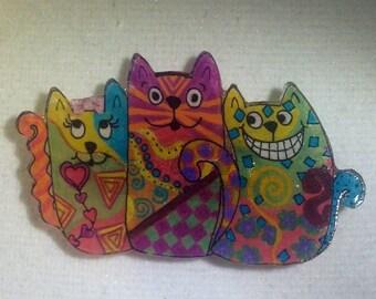 Cutie Cat Trio Brooch