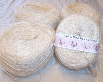 Hand spun Kid Mohair 8 ply yarn natural