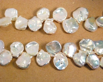 10 pieces 14-17mm keshi shape freshwater pearls, top drilled, grade AA, natural white color