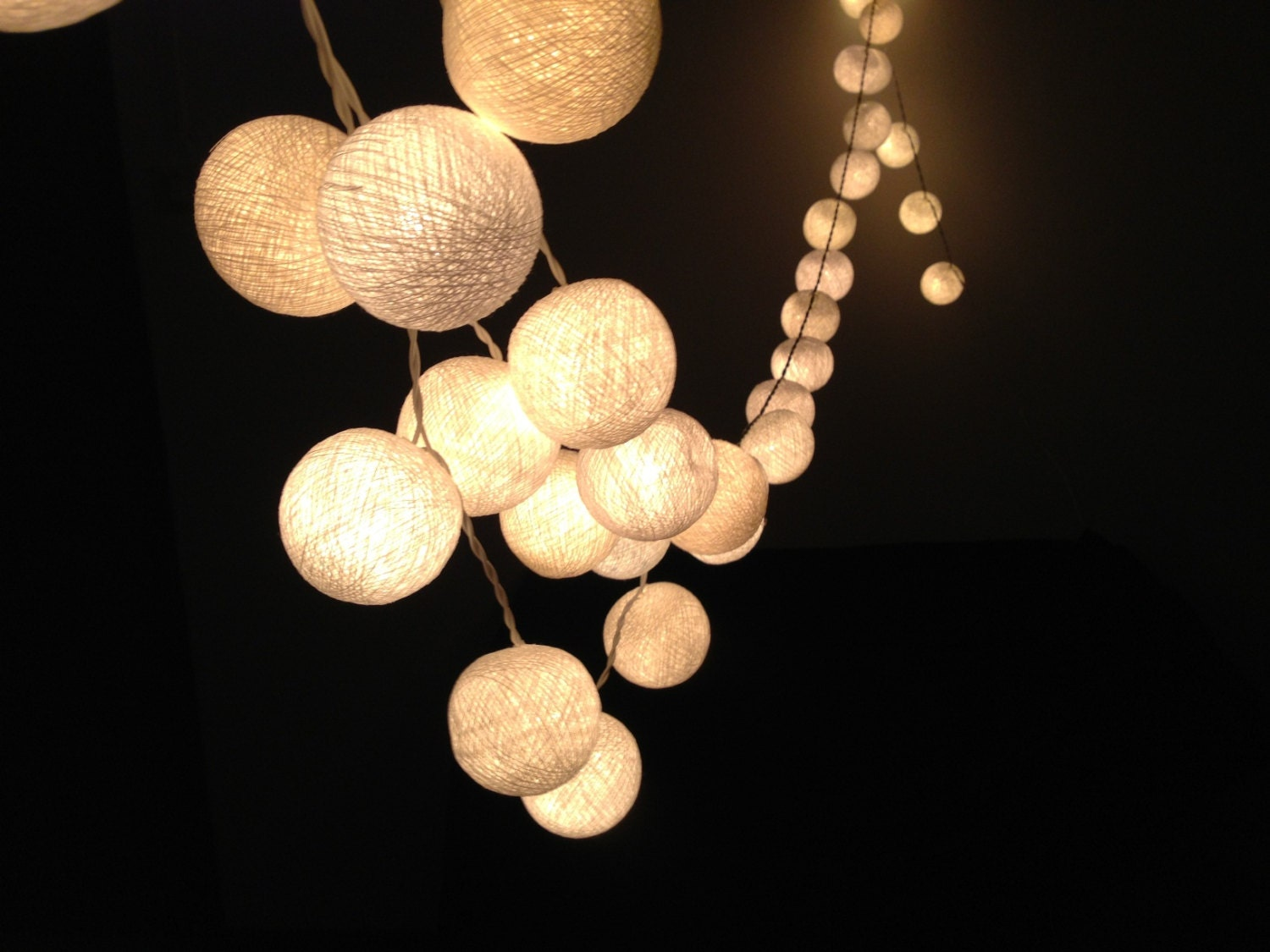 Custom Party String Lights : White cotton ball string lights for PatioWeddingParty and