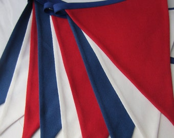Fabric Bunting, Red White & Blue Bunting,  Nautical Bunting, French Tricolor Bunting, Patriotic Banner, Seaside Bunting, Various Lengths