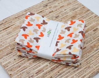 Large Cloth Napkins - Set of 4 - (N1283) - Leaves Autumn Modern Reusable Fabric Napkins