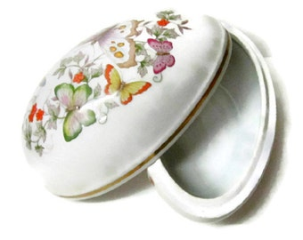 Porcelain Egg shaped trinket box by Avon 1974 with 22k Gold