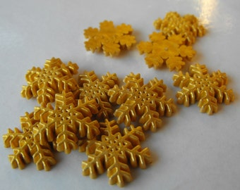 """10 Gold Painted Snowflake Flat Back Buttons Size 11/16"""""""