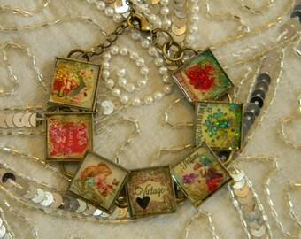 Perfume Labels Bracelet with Bezels