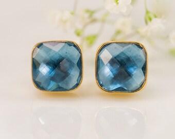 London Blue Topaz Stud Earrings - December Birthstone Studs - Gemstone Studs - Cushion Cut Studs - Gold Stud Earrings - Post Earrings