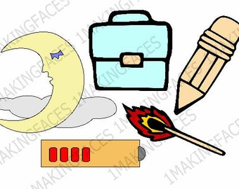 Sleeping Man-In-The-Moon, Lunch Box, Pencil, Battery, Lit Match, SVG Cutting File Kit