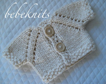 Hand Knit Ivory Baby Cardigan Size 0 to 3 Months