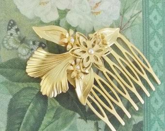 Gold Hair Comb - Bridal Hair Comb - Bridal Hair Accessories - pearl Hair Comb - Wedding Hair jewelry - Leaves Hair Comb - bridal head piece