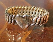 "Vintage Gold Filled Victorian Hand Etched Heart ""American Queen, Pitman & Keller"" Sweetheart Bracelet"