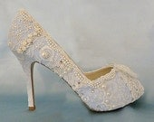 Something Blue Bridal Shoes .. blue lacy wedding shoes .. Custom Designs .. Low Heel Wedding Shoes .. FREE Shipping within the USA