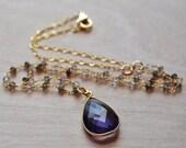 Amethyst Necklace Smoky Quartz Gold Filled Vermeil February Birthstone Feminine Delicate Valentines Day Romantic Gift