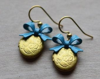 Locket Earrings Blue Bow Sentimental Nostalgic Romantic Round Bride Wedding Romance Dangle Vintage Brass Locket