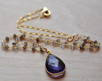 Amethyst Necklace Smoky Quartz Gold Filled Vermeil February Birthstone Feminine Delicate Valentines Day Romantic Gift
