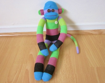 Rugby striped sock monkey doll - green, mauve, blue, and black - plush monkey toy