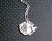 antiqued silver bird and flowers necklace / hand stamped pendant