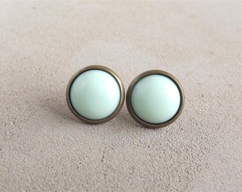 Mint Green Earrings Opaque Mint Green Stud Earrings Pale Light Green Pastel Round Earrings Wedding Gift For Her