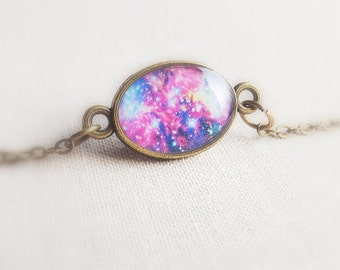 Purple Galaxy Charm Bracelet Antique bronze Chain Bracelet Tiny Bracelet Jewelry Space Universe