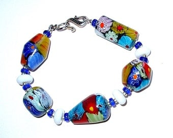 Millifiori Beaded Bracelet, Hand Made in the USA