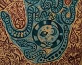 The Snake Charmers Hand, original acrylic painting
