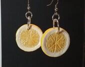lemon slice earrings dangle earrings fruit slice earrings fun earrings lemon yellow earrings handmade dangle earrings lightweight earrings