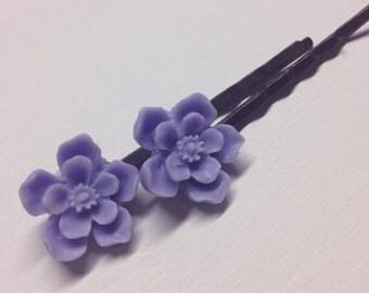 Resin Cherry Blossom Bobby Pin Set Lavender