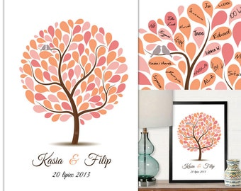 Colorful Wedding Tree Guest Book - Printed Poster