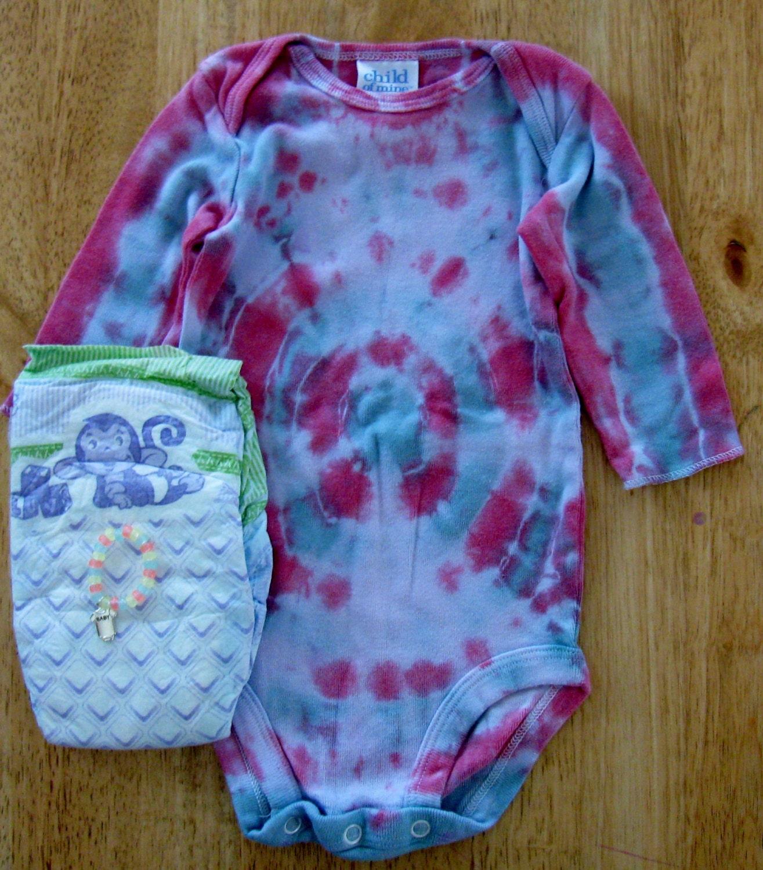 Reborn baby doll clothes 3-6 months Tie Dye onesie Diaper