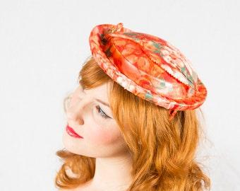 50% OFF SALE / 1950s vintage hat / floral toque / Abstraction