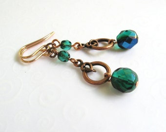 Green Beaded Copper Earrings, Emerald Green and Dark Blue Beaded Earrings, Green Blue Dangling Earrings, Copper Jewelry
