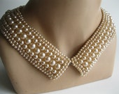 Vintage 1950s Beaded Collar Necklace - Faux Pearl - Winter Bridal Fashions