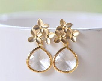 Clear Jewel Teardrop and Gold Cherry Blossom Flower Post Earrings. Bridesmaid Earrings. Drop Earrings. Gold Fashion Earrings. .