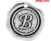 "1pc Initial ""B"" Antique Silver Charm. Personalized Small Pendant. Metal letter. 18mm Round Disc. Necklace Bracelet Component."