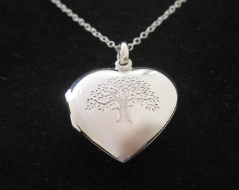 925 Sterling Silver TREE of LIFE engraved heart locket pendant and Sterling silver chain, Love, family, friendship necklace