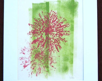 Fuji mum print, hand-pulled botanical monotype print, original work of art, 11 x 14 inches, coral pink and chartreuse