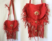 Vintage 70's Suede FRINGE BAG Bohemian Native RARE Satchel Purse